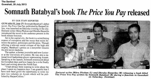 The Price You Pay, The Sentinel, Guwahati, Jul2813
